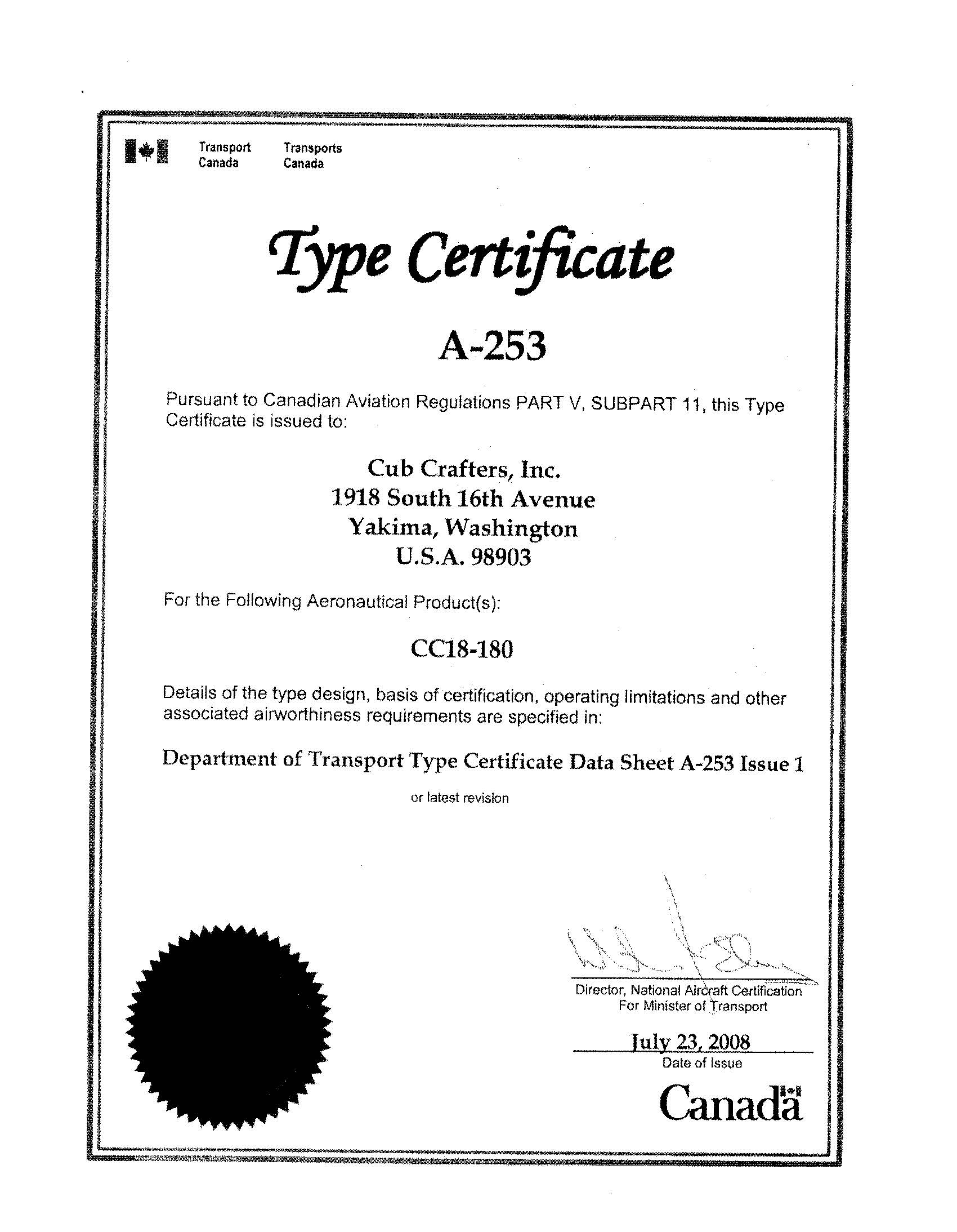 Canadian Type Certificate [13790]_页面_1